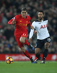 Roberto Firmino of Liverpool (L) and Mousa Dembele of Tottenham Hotspur in action - Mandatory by-line: Jack Phillips/JMP - 11/02/2017 - FOOTBALL - Anfield - Liverpool, England - Liverpool v Tottenham Hotspur - Premier League