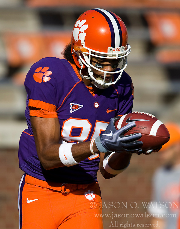 November 21, 2009; Clemson, SC, USA;  Clemson Tigers wide receiver Brandon Clear (85) before the game against the Virginia Cavaliers  at Memorial Stadium.  Clemson defeated Virginia 34-21.