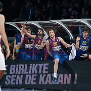 FC Barcelona Regal's Victor SADA (3ndL) and Joe INGLES (C), Xavier RABASEDA (2ndR) during their Euroleague group D matchday 5 Galatasaray between  FC Barcelona Regal at the Abdi Ipekci Arena in Istanbul at Turkey on Thursday, November 17 2011. Photo by TURKPIX