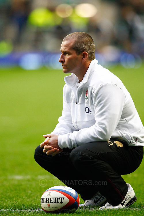 Picture by Andrew Tobin/SLIK images +44 7710 761829. 2nd December 2012. Stuart Lancaster looks on before the QBE Internationals match between England and the New Zealand All Blacks at Twickenham Stadium, London, England. England won the game 38-21.