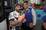 Adam Blair poses for a picture with a fan. Vodafone Warriors v Manly Sea Eagles. NRL Rugby League, Central Coast Stadium, Gosford, NSW, Australia, Sunday 27th September 2020 Copyright Photo: David Neilson / www.photosport.nz