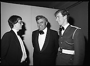 1980-02-29.29th February 1980.29/02/1980.02-29-80..Photographed at Burlington Hotel, Dublin..Sporting Prowess:..Ireland's Top Ten sporting figures from 1979 are acknowledged at the Texaco Sportstars of the Year Awards. .From Left:..John Treacey, recipient of the Athletics Award.Patrick Power TD, Minister for Fisheries and Forestry.Cadet David Cummins, recipient of the Swimming Award