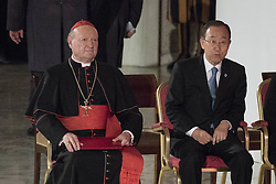 October 5, 2016 - Vatican City, Vatican - Cardinal Gianfranco Ravasi (L) and U.N. Secretary General Ban Ki-moon (R) attend the International conference ''Sport at the Service of Humanity'', the first global conference on faith and sport promoted by the Vatican Pontifical Council for Culture, in the Paul VI hall in Vatican City, Vatican. (Credit Image: © Giuseppe Ciccia/Pacific Press via ZUMA Wire)