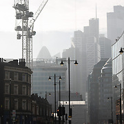 The streets are almost empty on the first day of lockdown 5th of Novemeber 2020, London, United Kingdom. The view from Shorteditch in East London to the City of London. The streets were unusually quiet and almost empty on the morning of the first day of the national lockdown. The UK Govenrment introduced a 4 week lockdown from November 5th - December 2nd to combat the cororan virus outbreak. It is the second national lockdown in the UK.