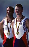 Barcelona,  SPAIN, Steve REDGRAVE and Matthew PINSENT Gold Medallist GBR M2- at the 1992 Olympic Regatta. Lake Banyoles, Nr Barcelona SPAIN,  [Photo, Peter Spurrier/Intersport-images]..       {Mandatory Credit: © Peter Spurrier/Intersport Images]..........       {Mandatory Credit: © Peter Spurrier/Intersport Images].........