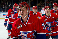 KELOWNA, BC - MARCH 13: Nolan Reid #7 of the Spokane Chiefs skates to the bench to celebrate a goal against the Kelowna Rockets at Prospera Place on March 13, 2019 in Kelowna, Canada. (Photo by Marissa Baecker/Getty Images)
