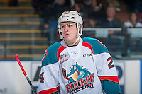 KELOWNA, CANADA - FEBRUARY 10: Kyle Topping #24 of the Kelowna Rockets stands on the ice against the Vancouver Giants on February 10, 2017 at Prospera Place in Kelowna, British Columbia, Canada.  (Photo by Marissa Baecker/Shoot the Breeze)  *** Local Caption ***