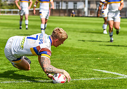 Whitehavens' Callum Phillips scores a try<br /> <br /> Photographer Craig Thomas/Replay Images<br /> <br /> Betfred League 1 - West Wales Raiders v Whitehaven  - Saturday 23rd June 2018 - Stebonheath Park - Llanelli<br /> <br /> World Copyright © 2017 Replay Images. All rights reserved. info@replayimages.co.uk - www.replayimages.co.uk