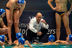 Coach Athanasios Kechagias of Romania in action against the Netherlands during the Olympic qualifying tournament. The Dutch water polo players are on the hunt for a starting ticket for the Olympic Games on February 16, 2021 in Rotterdam