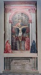 THEMENBILD - Die Basilika Santa Maria Novella ist eine gotische Kirche und Klosteranlage in Florenz. Sie liegt im Nordwesten der Altstadt, an der Piazza Santa Maria Novella, fast unmittelbar neben dem nach ihr benannten Hauptbahnhof. Hier im Bild Die Dreifaltigkeit ist ein Fresko in der Kirche Santa Maria Novella in Florenz. Es wurde zwischen 1425 und 1428 von Masaccio geschaffen. Es gilt als bahnbrechend für die europäische Kunst, da erstmals in der Malerei ein Künstler die Gesetze der Perspektive korrekt angewandt hat. Aufgenommen am 18. Oktober 2015 // Santa Maria Novella is a church in Florence, Italy, situated just across from the main railway station which shares its name. Chronologically, it is the first great basilica in Florence, and is the city's principal Dominican church. The church, the adjoining cloister, and chapterhouse contain a store of art treasures and funerary monuments. Especially famous are frescoes by masters of Gothic and early Renaissance. They were financed through the generosity of the most important Florentine families, who ensured themselves of funerary chapels on consecrated ground. Pictured on 18. October 2015. EXPA Pictures © 2015, PhotoCredit: EXPA/ Johann Groder