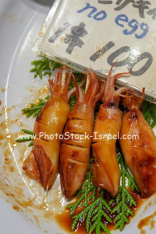 Japanese food. Ready to eat shrimps. Photographed in Osaka Food Market, Osaka, Japan