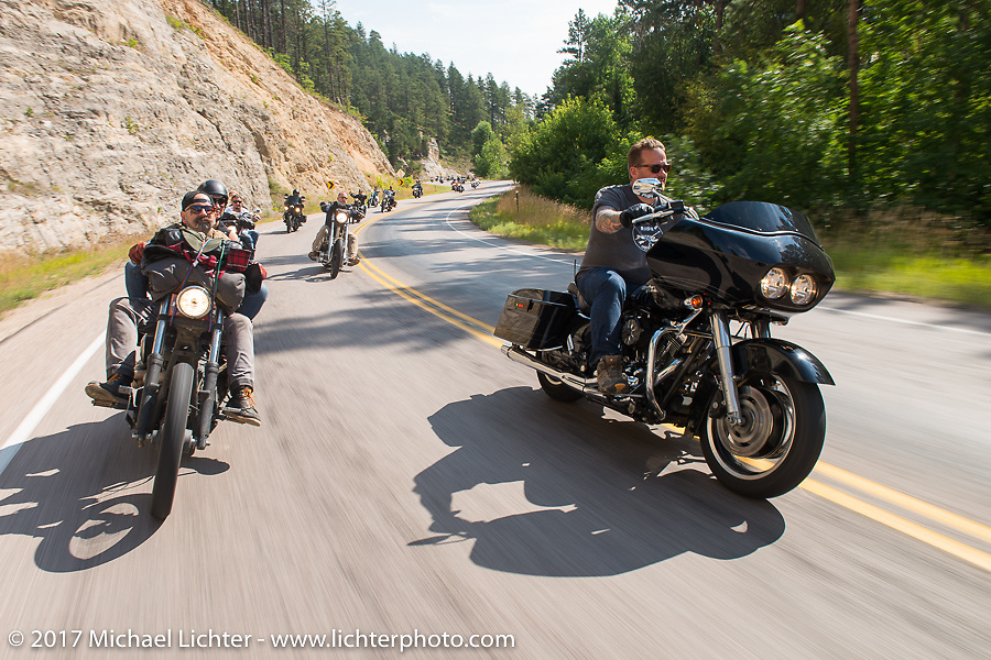 Darrren McKeag and Bobby Seeger Jr on the Aidan's Ride to raise money for the Aiden Jack Seeger nonprofit foundation to help raise awareness and find a cure for ALD (Adrenoleukodystrophy) during the annual Sturgis Black Hills Motorcycle Rally. Vanocker Canyon between Sturgis and Nemo, SD, USA. Tuesday August 8, 2017. Photography ©2017 Michael Lichter.