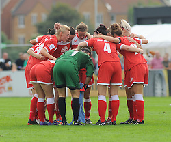 Bristol Academy Womens'  team hustle together for the second half of the match. - Photo mandatory by-line: Nizaam Jones- Mobile: 07583 387221 - 28/09/2014 - SPORT - Women's Football - Bristol - SGS Wise Campus - BAWFC v Man City Ladies - sport