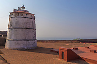 Fort Aguadas was built as a reference point for ships coming from Europe at the time. The Portuguese fort stands at the confluence of the Mandovi River and the Arabian Sea and was constructed in 1613.  A spring at the fort provided water to the ships which is how the fort got its name.  On the fort stands a fat, squat Portuguese lighthouse built in 1864 - the oldest of its kind in Asia though no longer used after 1976, instead a more modern lighthouse is used nearby.