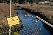 No Trespassing sign at Ballona Weltands Ecological Reserve, Playa Del Rey, Los Angeles, California, USA