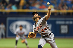 April 20, 2017 - St. Petersburg, Florida, U.S. - WILL VRAGOVIC       Times.Detroit Tigers starting pitcher Daniel Norris (44) throwing in the first inning of the game between the Detroit Tigers and the Tampa Bay Rays at Tropicana Field in St. Petersburg, Fla. on Thursday, April 20, 2017. (Credit Image: © Will Vragovic/Tampa Bay Times via ZUMA Wire)