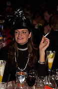 Olivia Rigg, ' Hats off to Barbados'  Ball. the Natural history Museum. 22 November 2004.  SUPPLIED FOR ONE-TIME USE ONLY> DO NOT ARCHIVE. © Copyright Photograph by Dafydd Jones 66 Stockwell Park Rd. London SW9 0DA Tel 020 7733 0108 www.dafjones.com