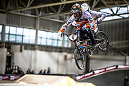 #8 (VAN DER BURG Dave) NED during practice at the 2019 UCI BMX Supercross World Cup in Manchester, Great Britain
