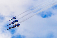 Six Blue Angels in Unison
