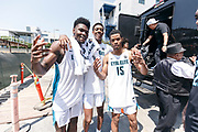 THOUSAND OAKS, CA Sunday, August 12, 2018 - Nike Basketball Academy. Isaiah Stewart 2019 #23 of La Lumiere School, Alonzo Gaffney 2019 #8 of Brewster Academy and Cassius Stanley 2019 #15 of Sierra Canyon HS pose for a photo. <br /> NOTE TO USER: Mandatory Copyright Notice: Photo by Jon Lopez / Nike