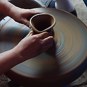 A pottery wheel in motion. Java, Indonesia.