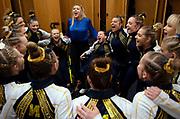 The Michigan Women's Gymnastics Team huddles up before their meet against Iowa at Crisler Center on February 10, 2019 in Ann Arbor, Michigan.