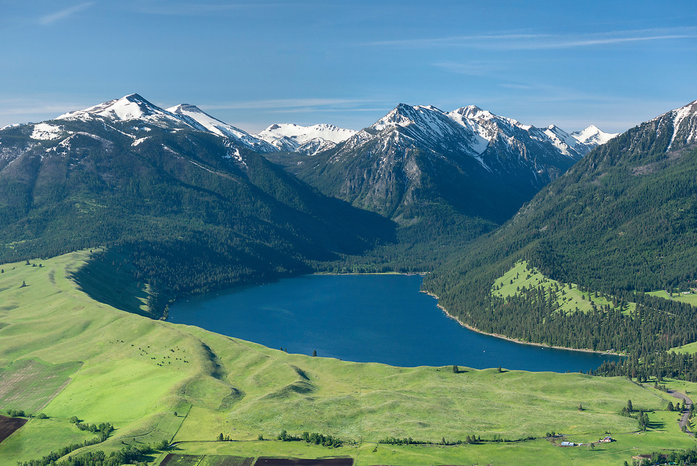 Aerial view of the town of Joseph, Wallowa Lake and the Wallowa Mountains in Northeast Oregon.