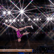 TOKYO, JAPAN - JULY 29: Vladiislava Urazova of ROC. performs her routine on the balance beam during the All-Around Final for Women at Ariake Gymnastics Centre during the Tokyo 2020 Summer Olympic Games on July 29, 2021 in Tokyo, Japan. (Photo by Tim Clayton/Corbis via Getty Images)<br /> <br /> (Note to editors: A special effects starburst filter was used in the creation of this image)