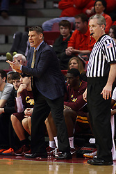 06 January 2016: Porter Moser shows some motions and some sideline antics while standing on the sidelines near Terry Davis during the Illinois State Redbirds v Loyola-Chicago Ramblers at Redbird Arena in Normal Illinois (Photo by Alan Look)