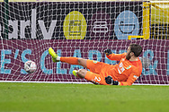 Burnley goalkeeper Will Norris (25) fail to save a penalty during the FA Cup match between Burnley and Milton Keynes Dons at Turf Moor, Burnley, England on 9 January 2021.