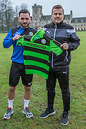 Jake Gosling with Forest Green Rovers manager, Mark Cooper signs on loan with Forest Green Rovers from Bristol Rovers, until the end of the season at the New Lawn, Forest Green, United Kingdom on 17 January 2017. Photo by Shane Healey.