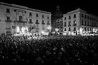 CATANIA, ITALY - 28 OCTOBER 2017: Supporters of the  Five Star Movement (Italian: Movimento 5 Stelle, or M5S) candidate Giancarlo Cancelleri, running for governor of Sicily in the upcoming Sicilan regional election, listen to a speech by M5S leader Beppe Grillo during a rally in Catania, Italy, on October 28th 2017. <br /> <br /> The Sicilian regional election for the renewal of the Sicilian Regional Assembly and the election of the President of Sicily will be held on 5th November 2017.