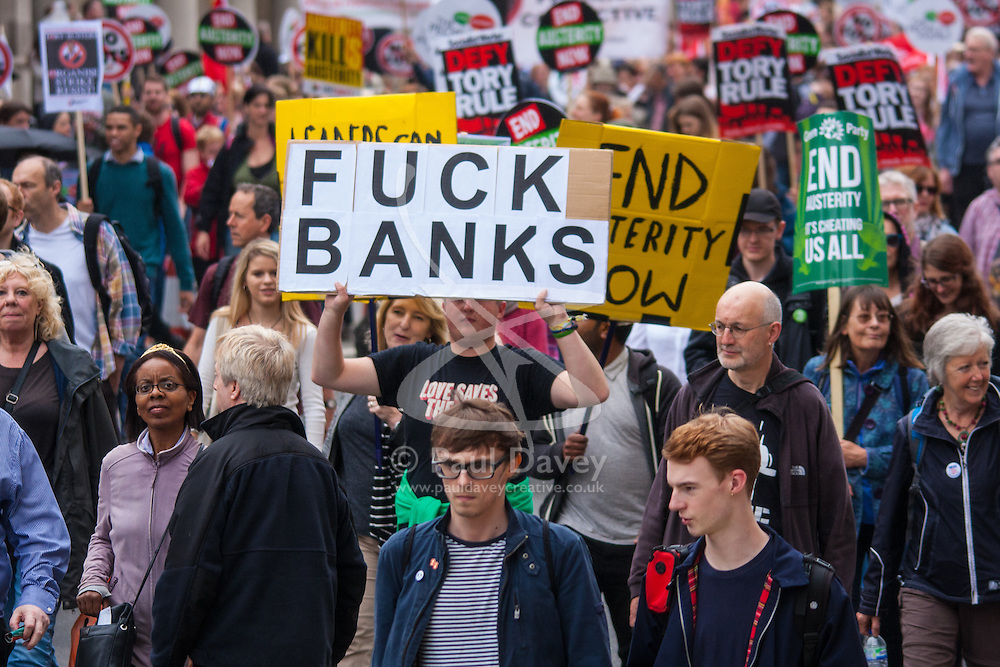 London, June 20th 2015. Thousands of people converge on the streets of London to join the People's Assembly Against Austerity's march from the Bank of England to Parliament Square. PICTURED: