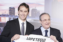 June 14, 2018 - Madrid, Madrid, Spain - Julen Lopetegui, Florentino Perez during the presentation of Julen Lopetegui as new head coach of Real Madrid F.C. at Santiago Bernabeu Stadium on June 14, 2018 in Madrid, Spain (Credit Image: © Jack Abuin via ZUMA Wire)