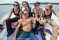 Out on AJ's boat with the Iron Lilies during Laconia Motorcycle Week 2016. NH, USA. Sunday, June 19, 2016.  Photography ©2016 Michael Lichter.