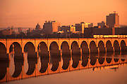 Harrisburg skyline, Susquehanna River, Train and Railroad Bridge Arches