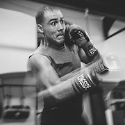 Raymond Grajeda practices his punches at the La Habra Boxing Club on Wednesday, November 4, 2016, in La Habra, California. Photo by Morgan Lieberman/Sports Shooter Academy