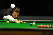 Judd Trump in action during his victory over Anthony McGill. . Bet Victor Welsh open snooker at the Newport centre in Newport, South Wales on Wed 26th Feb 2014.<br /> pic by Andrew Orchard, Andrew Orchard sports photography.