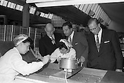 17/04/1963<br /> 04/17/1963<br /> 17 April 1963<br /> Lord Mayor of Birmingham visits Fry-Cadbury factory, Colock, Malahide Road, Dublin. Image shows the Lord Mayor of Birmingham with Richard Godsil and Arthur Lyle, Joint Managing Directors, Fry-Cadbury during the tour.