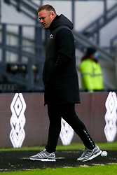 Derby County manager Wayne Rooney cuts a dejected look after his side miss the target - Mandatory by-line: Ryan Crockett/JMP - 16/01/2021 - FOOTBALL - Pride Park Stadium - Derby, England - Derby County v Rotherham United - Sky Bet Championshiz