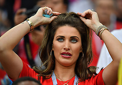 Charlotte Trippier, wife of Kieran Trippier of England and their son Jacob Trippier attending the 1/8 Final Game between Colombia and England at the 2018 FIFA World Cup in Moscow, Russia on July 3rd, 2018. Photo by Christian Liewig/ABACAPRESS.COM