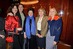 Left to right, JASMINE GUINNESS, REBECCA GUINNESS, LULU GUINNESS, CATHERINE HESKETH and OLIVIA FANSHAWE at a ladies lunch in aid of the charity Child Bereavement UK held at The Bulgari Hotel, 171 Knightsbridge, London on 25th February 2016.