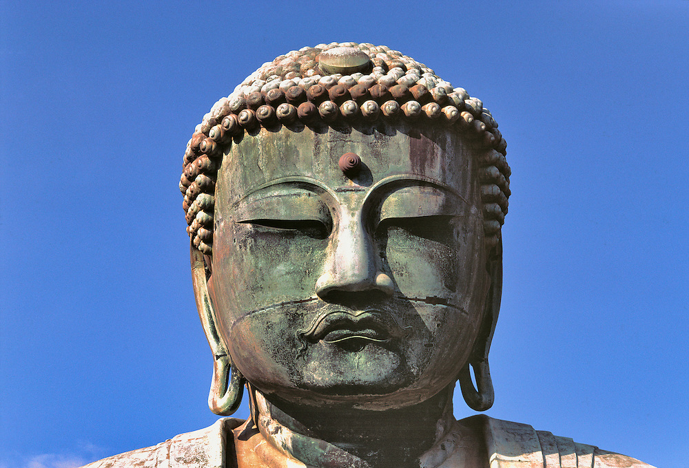 The expression on the face of the Great Buddha, the bronze Daibutsu, at Kamakura in Japan, is of great serenity.