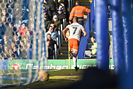 Blackpool Forward, Kyle Vassell (7) turns to celebrate after scoring a goal to make it 0-1 during the EFL Sky Bet League 1 match between Portsmouth and Blackpool at Fratton Park, Portsmouth, England on 24 February 2018. Picture by Adam Rivers.