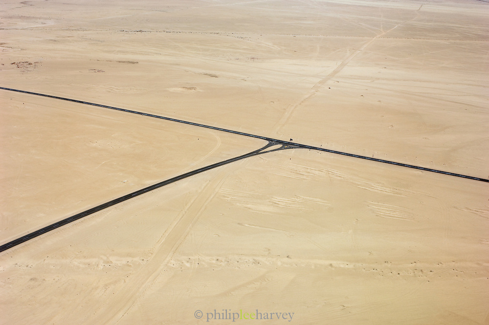 A road intersection seen from the air in the middle of the Namib Desert, Namibia