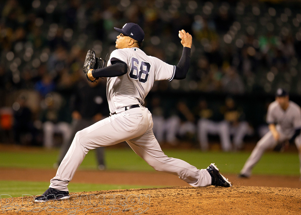 Sep 4, 2018; Oakland, CA, USA; New York Yankees pitcher Delin Betances (68) delivers against the Oakland Athletics during the ninth inning of a Major League Baseball game at Oakland Coliseum. Mandatory Credit: D. Ross Cameron-USA TODAY Sports