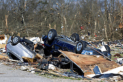24 February 2016. Sugar Hill RV Park, Convent, Louisiana.<br /> Scenes of devastation following a deadly EF2 tornado touchdown. 2 confirmed dead. <br /> Trailers and cars lie smashed in the debris field left in the path of the tornado. <br /> Photo©; Charlie Varley/varleypix.com