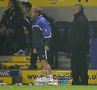 Photo: Steve Bond.<br /> Leicester City v Cardiff City. Coca Cola Championship. 26/11/2007. David Jones (R) watches in the drizzle at Leicester