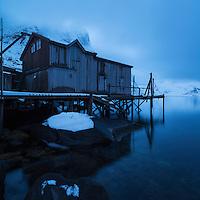 Derelict Rorbu sits on edge of fjord, Vestvalen, Reine, Moskenesøy, Lofoten Islands, Norway