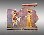 Roman fresco wall decorations from Villas of Rome. Museo Nazionale Romano ( National Roman Museum), Rome, Italy. Against a grey background. .<br /> <br /> If you prefer to buy from our ALAMY PHOTO LIBRARY  Collection visit : https://www.alamy.com/portfolio/paul-williams-funkystock/national-roman-museum-rome-fresco.html<br /> <br /> Visit our ROMAN ART & HISTORIC SITES PHOTO COLLECTIONS for more photos to download or buy as wall art prints https://funkystock.photoshelter.com/gallery-collection/The-Romans-Art-Artefacts-Antiquities-Historic-Sites-Pictures-Images/C0000r2uLJJo9_s0
